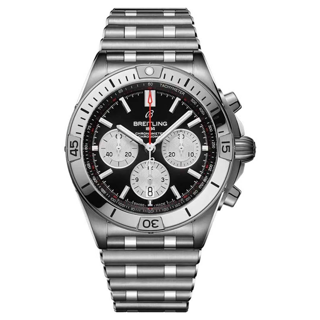 BREITLING CHRONOMAT B01 42 AB0134101B1A1 New Chronomat 2020 model, mặt số đen dây đeo thép ống độc đáo