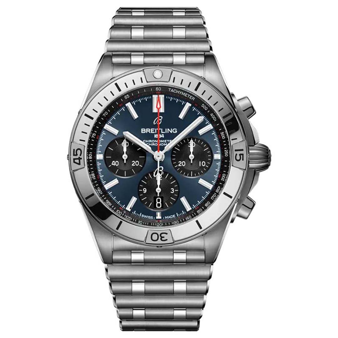 BREITLING CHRONOMAT B01 42 AB0134101C1A1 New Chronomat 2020 model, mặt số xanh dây đeo thép ống độc đáo