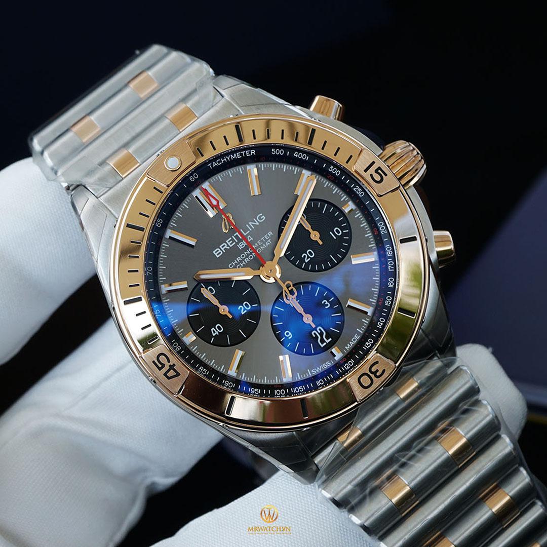 BREITLING CHRONOMAT B01 42 UB0134101B1U1 New Chronomat 2020 model, mặt số nâu niềng vàng sang trọng