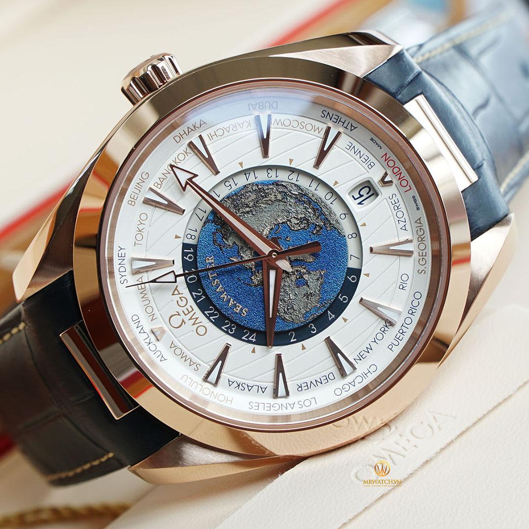 Omega SeaMaster Aqua Terra 150M Co-Axial Master Chronometer GMT Wordtimer 43 MM 220.53.43.22.02.001 Lịch Thế Giới, vàng đỏ nguyên khối, hiếm và khó để đặt mua