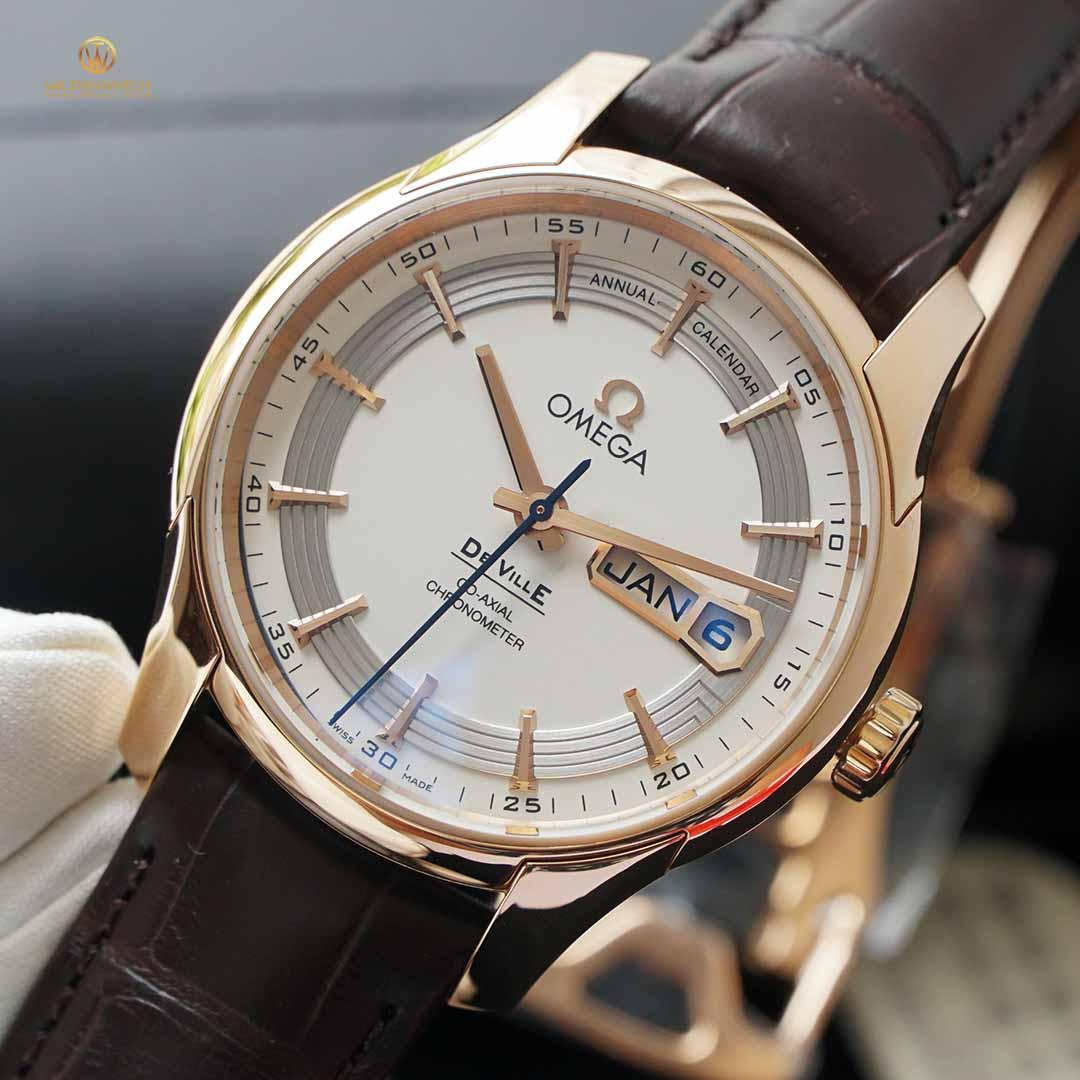 Omega De-Ville Hour Vision Co‑Axial Chronometer Annual Calendar 41 mm 431.63.41.22.02.001 vàng đỏ nguyên khối, lịch kép vạn niên năm
