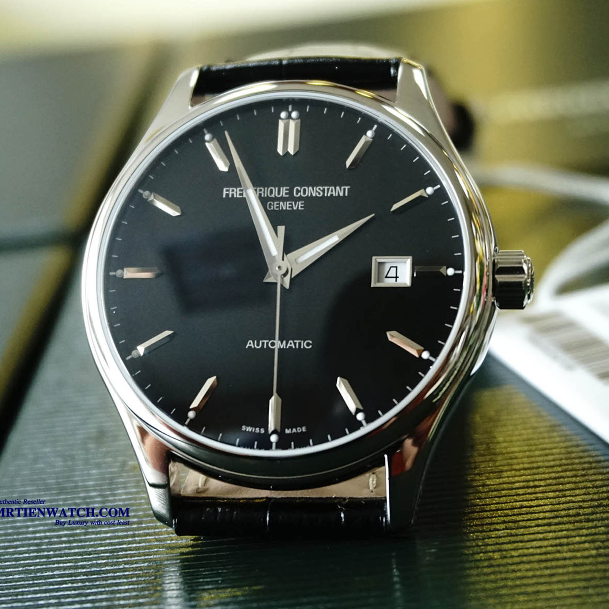 FREDERIQUE CONSTANT AUTOMATIC INDEX BLACK DIAL LEATHER STRAPS FC-303B5B6 - Thép không gỉ