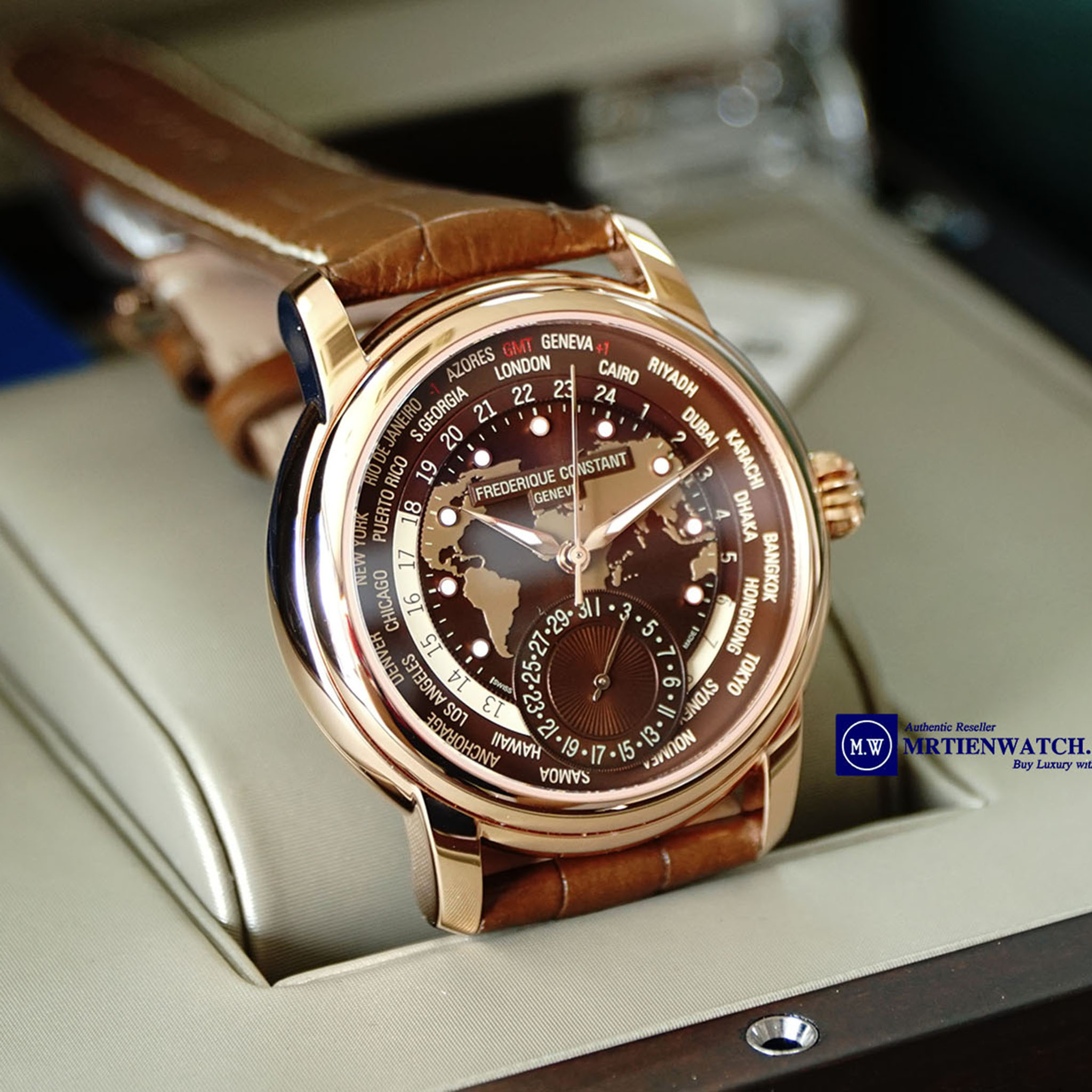 FREDERIQUE CONSTANT CLASSIC MANUFACTURE WORLDTIMER ROSE GOLD LEATHER STRAPS FC-718BRWM4H4 - Thép không rỉ bọc vàng đồng (Rose Gold Plated)