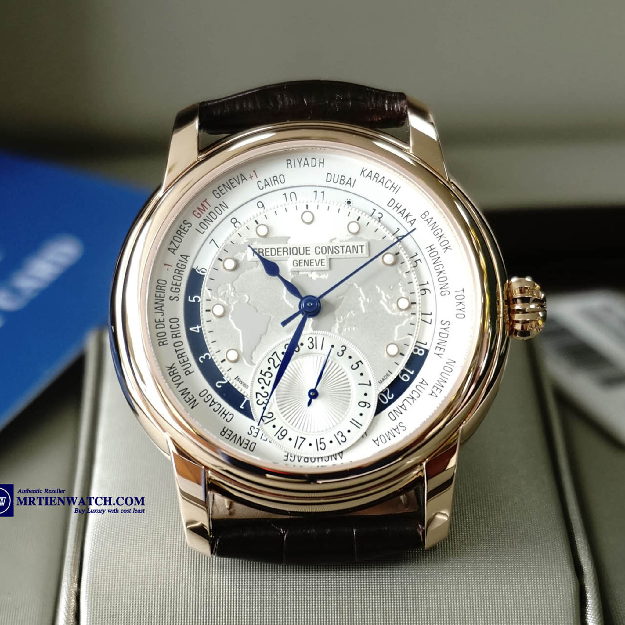 FREDERIQUE CONSTANT MANUFACTURE WORLDTIMER ROSE GOLD PLATED BLUE HANDS LEATHER STRAPS FC-718WM4H4 - Thép không rỉ bọc vàng đồng (Rose Gold Plated)