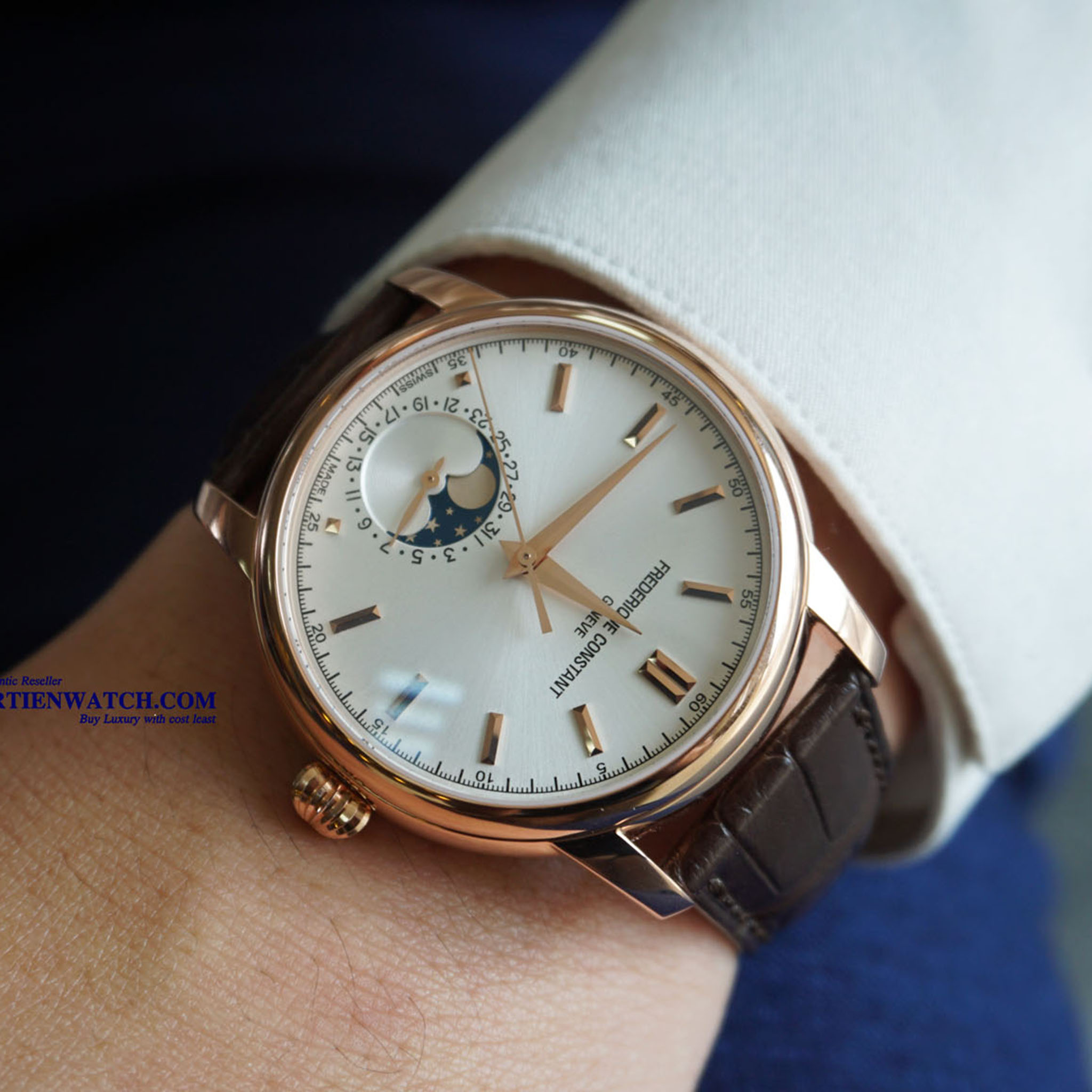FREDERIQUE CONSTANT MOONPHASE AUTOMATIC 18K ROSE GOLD PLATED LEATHER STRAPS FC-715V4H4 - Thép không rỉ bọc vàng 18k
