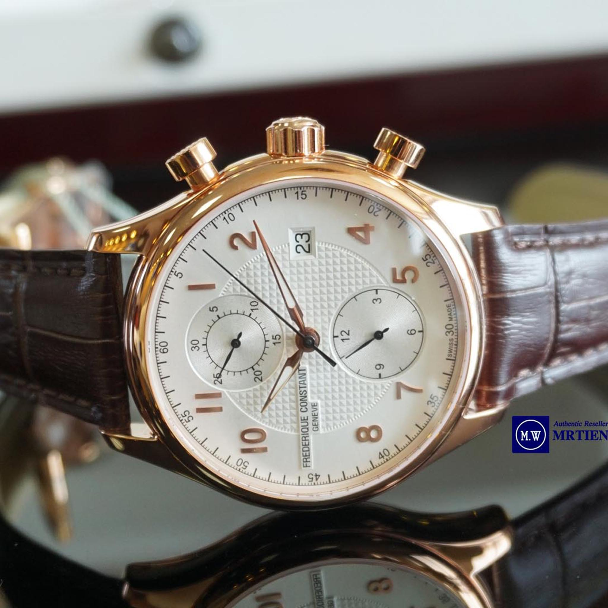 FREDERIQUE CONSTANT RUNABOUT CHRONOGRAPH AUTOMATIC LIMITED 18K GOLD PVD LEATHER STRAPS FC-393RM5B4  - Thép không rỉ mạ vàng 18k PVD