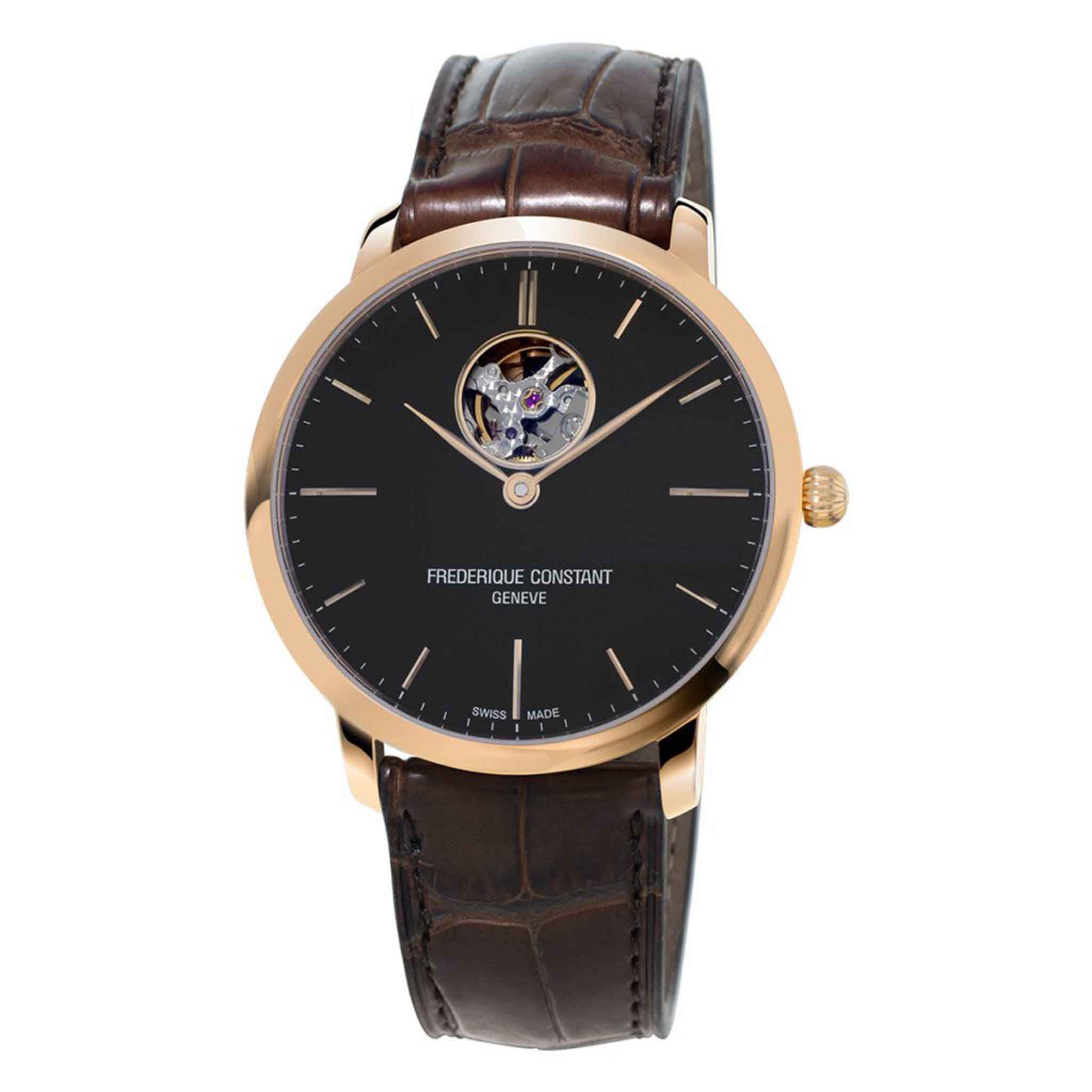 FREDERIQUE CONSTANT SLIMLINE AUTOMATIC 18K GOLD PLATED LEATHER STRAPS FC-312G4S4 - Thép không gỉ bọc vàng (Gold Plated)