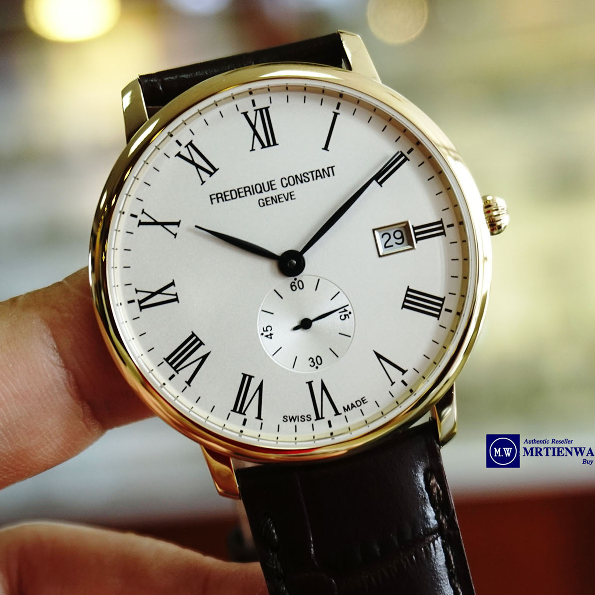 FREDERIQUE CONSTANT SLIMLINE YELLOW GOLD PVD LEATHER STRAPS FC-245WR5S5 - Thép không gỉ mạ vàng