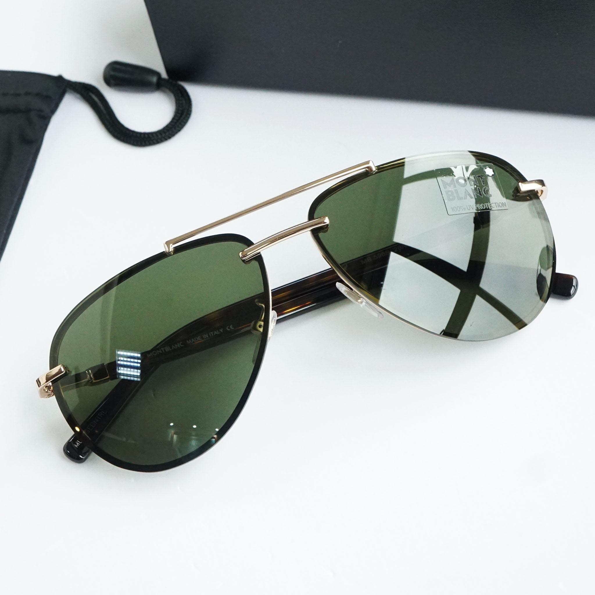 Kính râm Mont-Blanc Green Aviator Sunglasses MB596S 28N 62 chính hãng