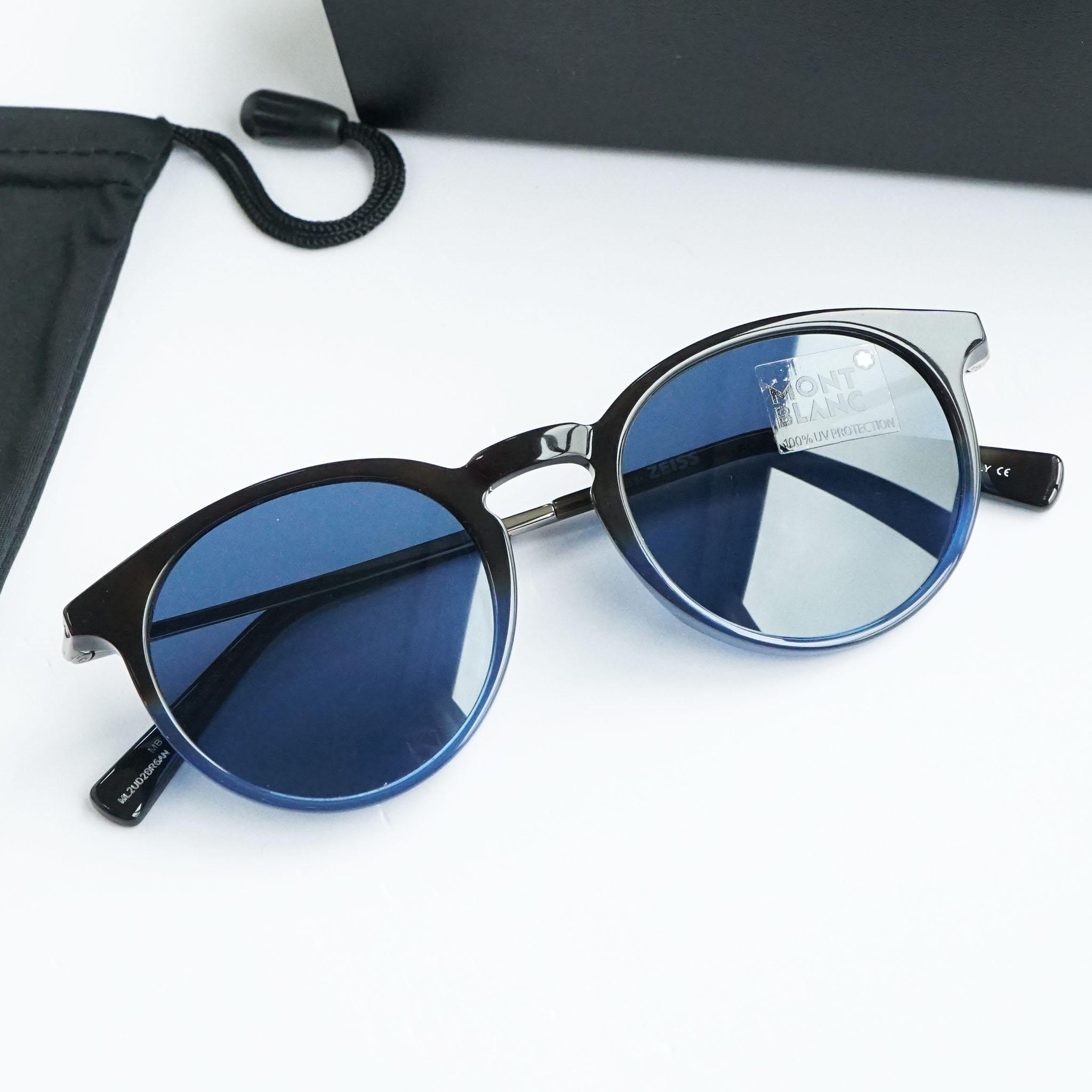 Kính mắt Mont Blanc MB549S/S 56V Black Blue Sunglasses chính hãng