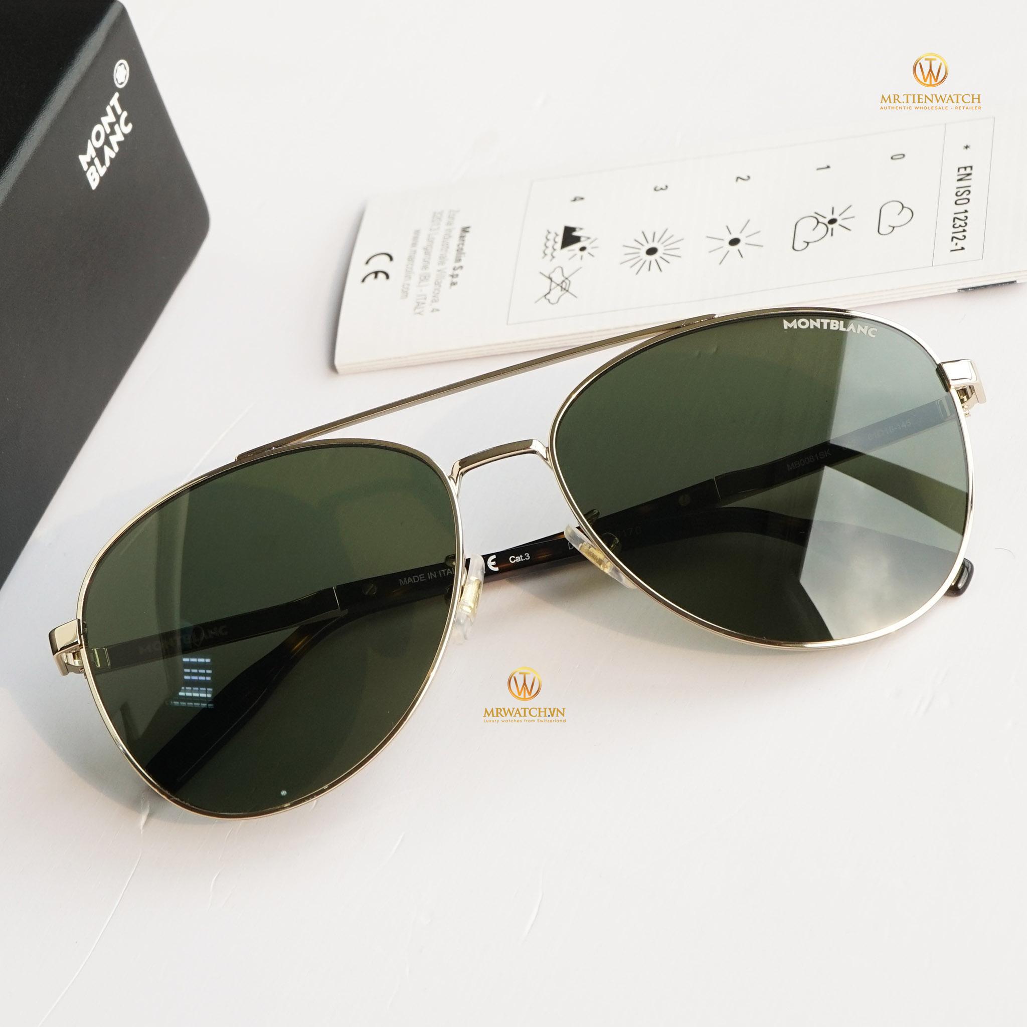 Kính mắt Montblanc Aviator Sunglasses Mb0081sk 002 Gold/havana 61mm chính hãng