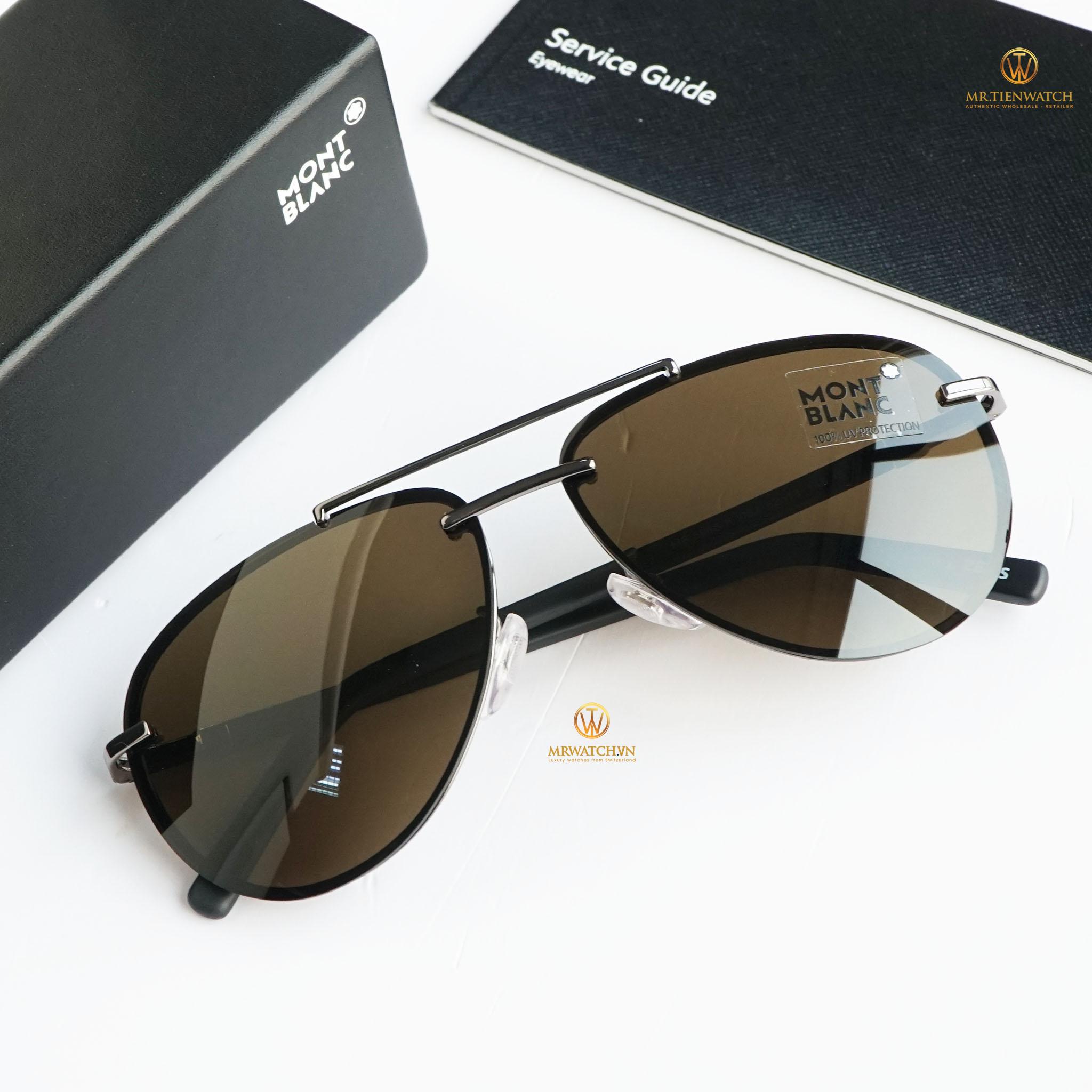Kính râm Montblanc Aviator Sunglasses MB596F 08J Gunmetal/Matte Black 62 chính hãng