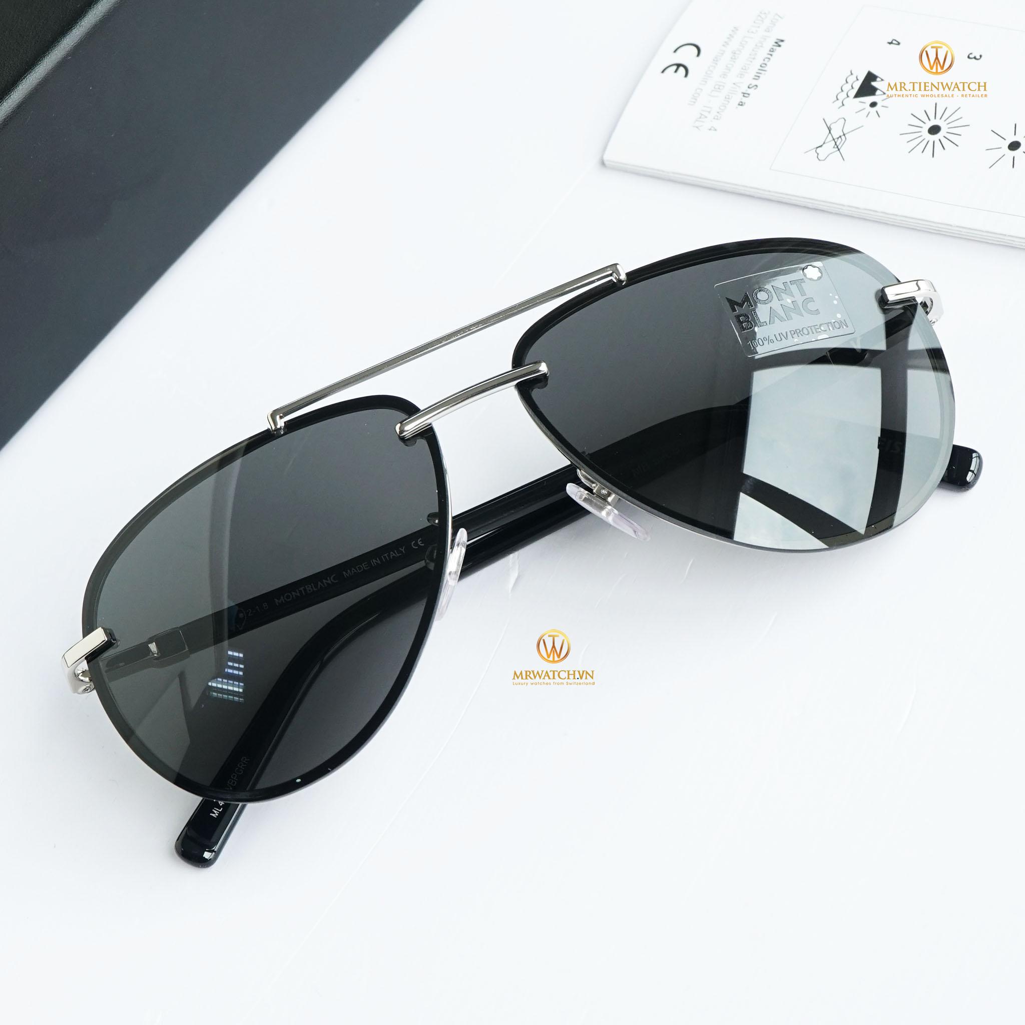 Kính râm Montblanc Aviator Sunglasses MB596S 16A Palladium/Black 62mm chính hãng