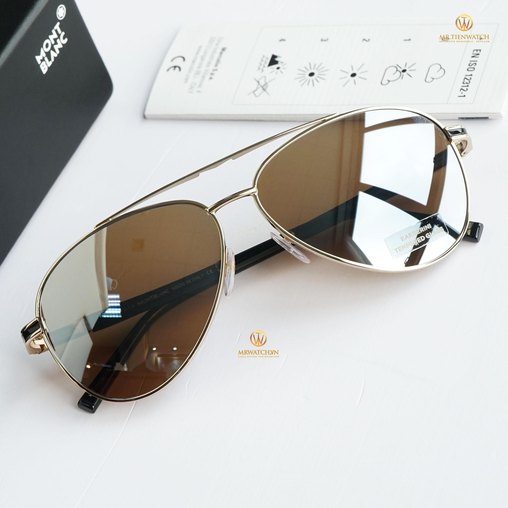 Kính mắt Montblanc Aviator Sunglasses MB702S 32L Gold/Black 59mm chính hãng