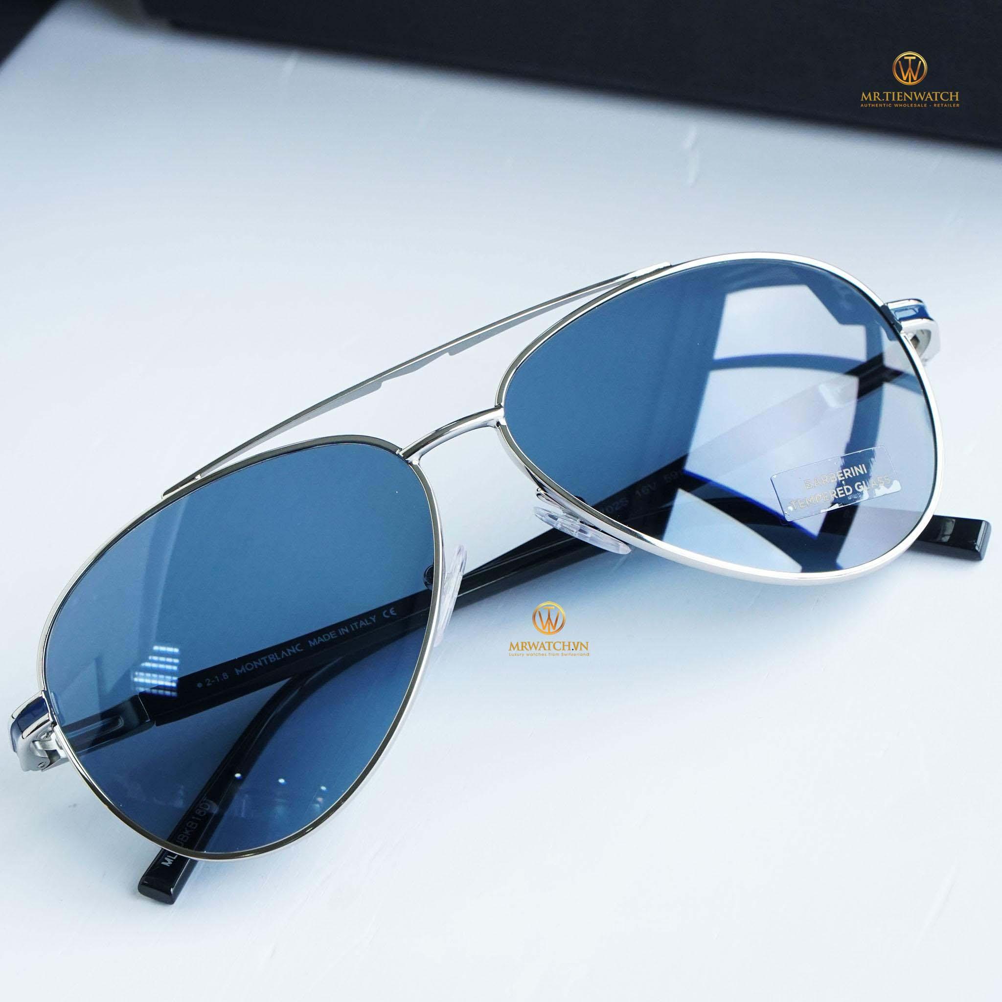 Kính râm Mont-Blanc Blue Aviator Sunglasses MB702S 16V chính hãng
