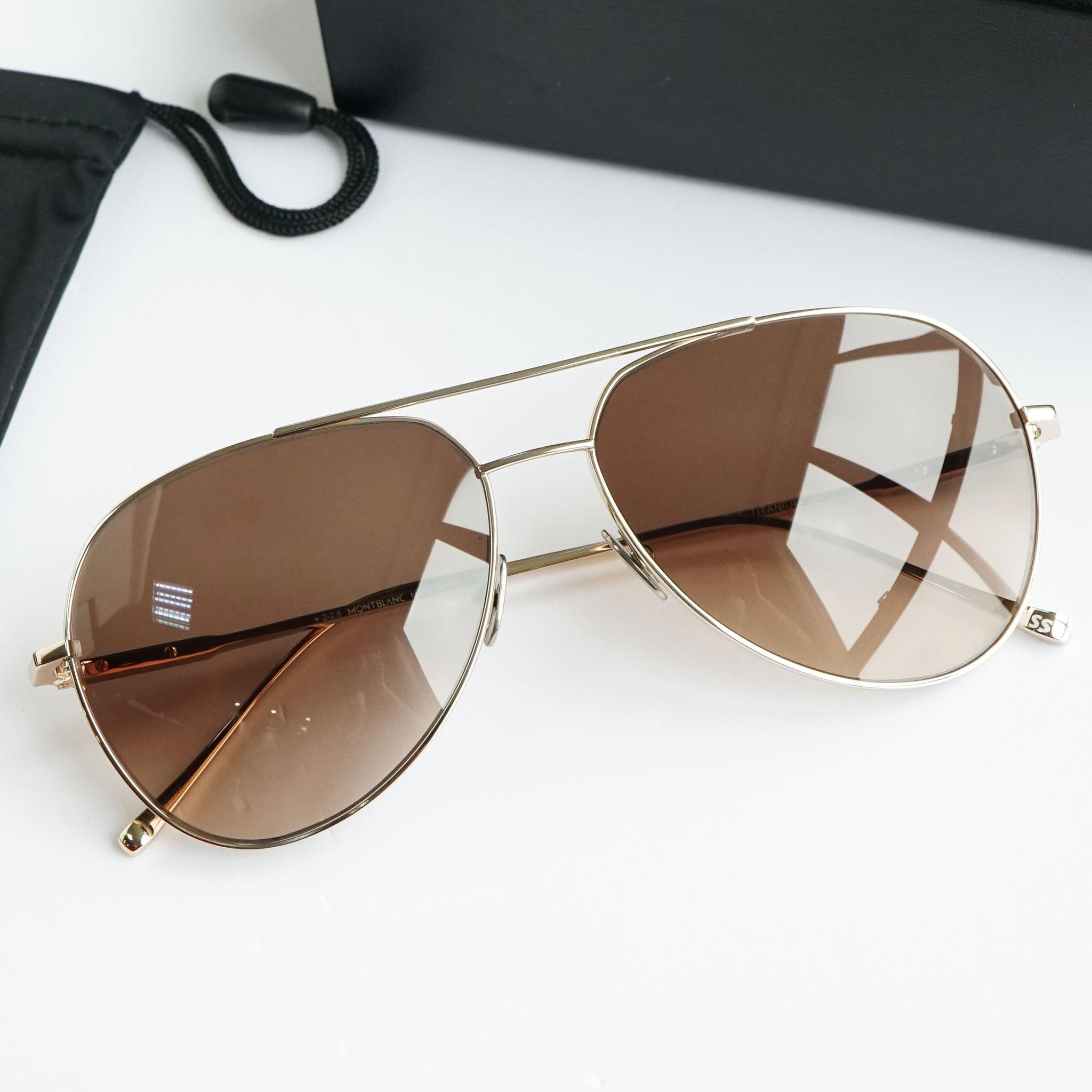 Kính mắt Montblanc Brown Gradient Aviator Sunglasses MB657S 32F chính hãng