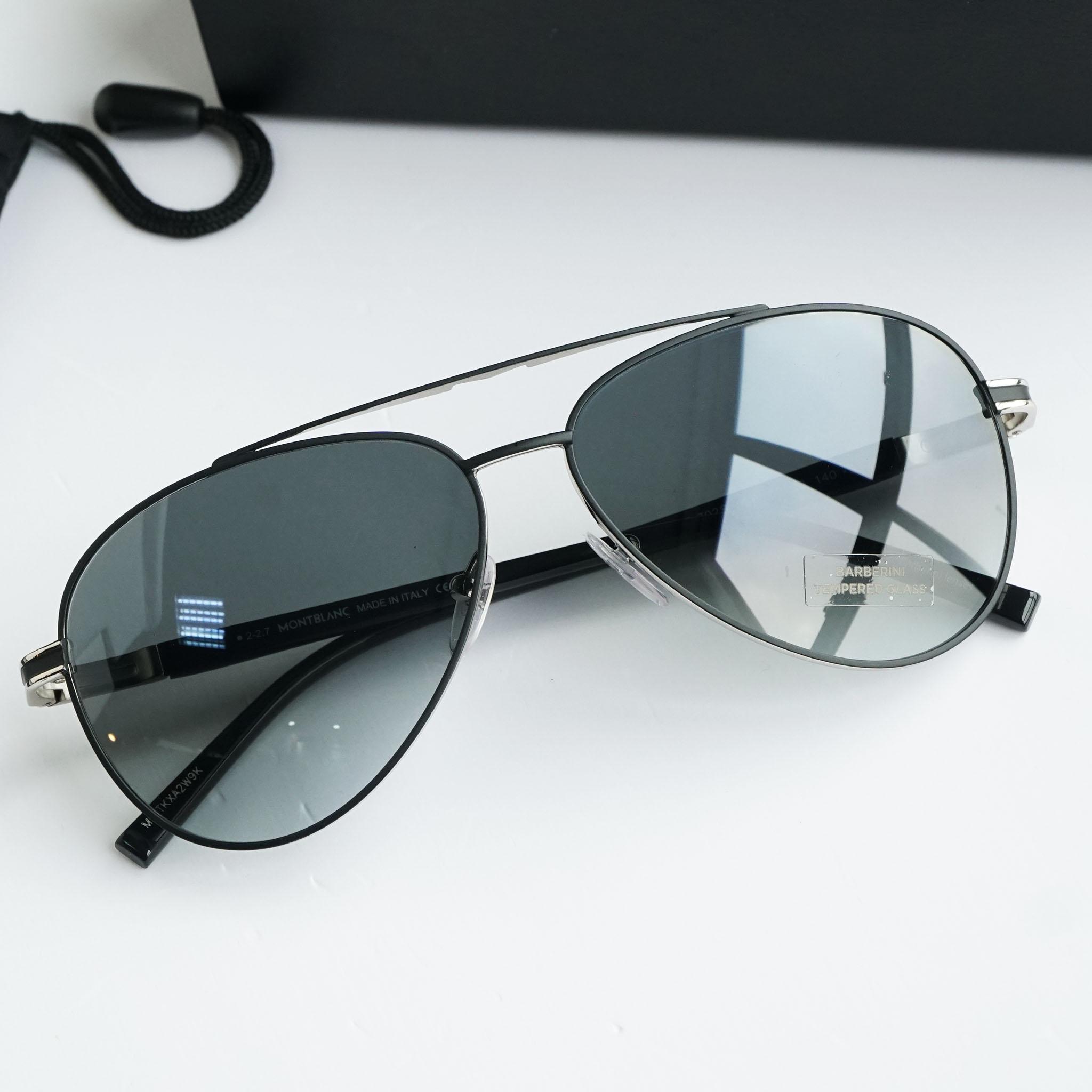 Kính râm  MontBlanc Grey Gradient Aviator Sunglasses MB702S 02B chính hãng