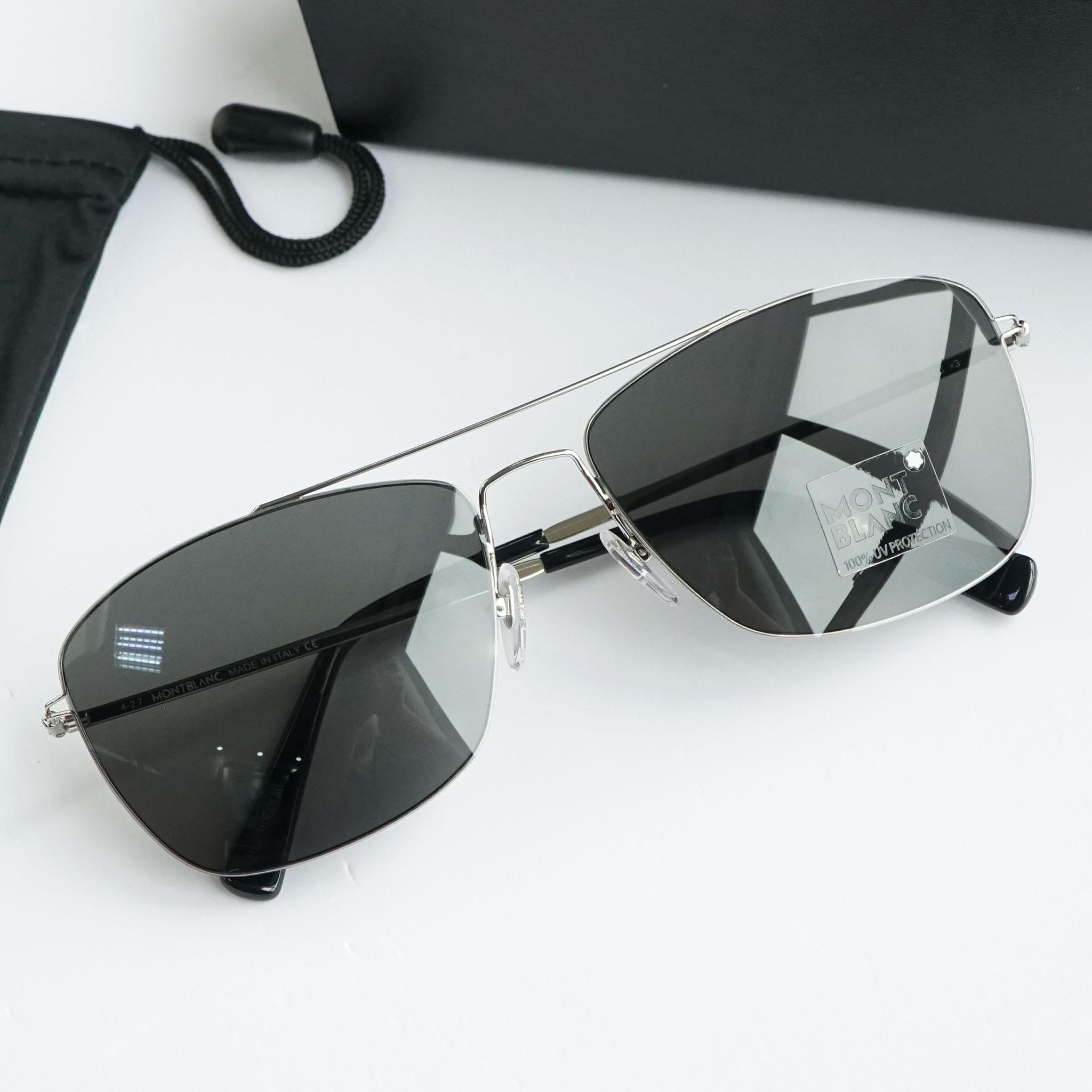 Kính mắt Mont-Blanc Grey Square Sunglasses MB594S 16A 59 chính hãng