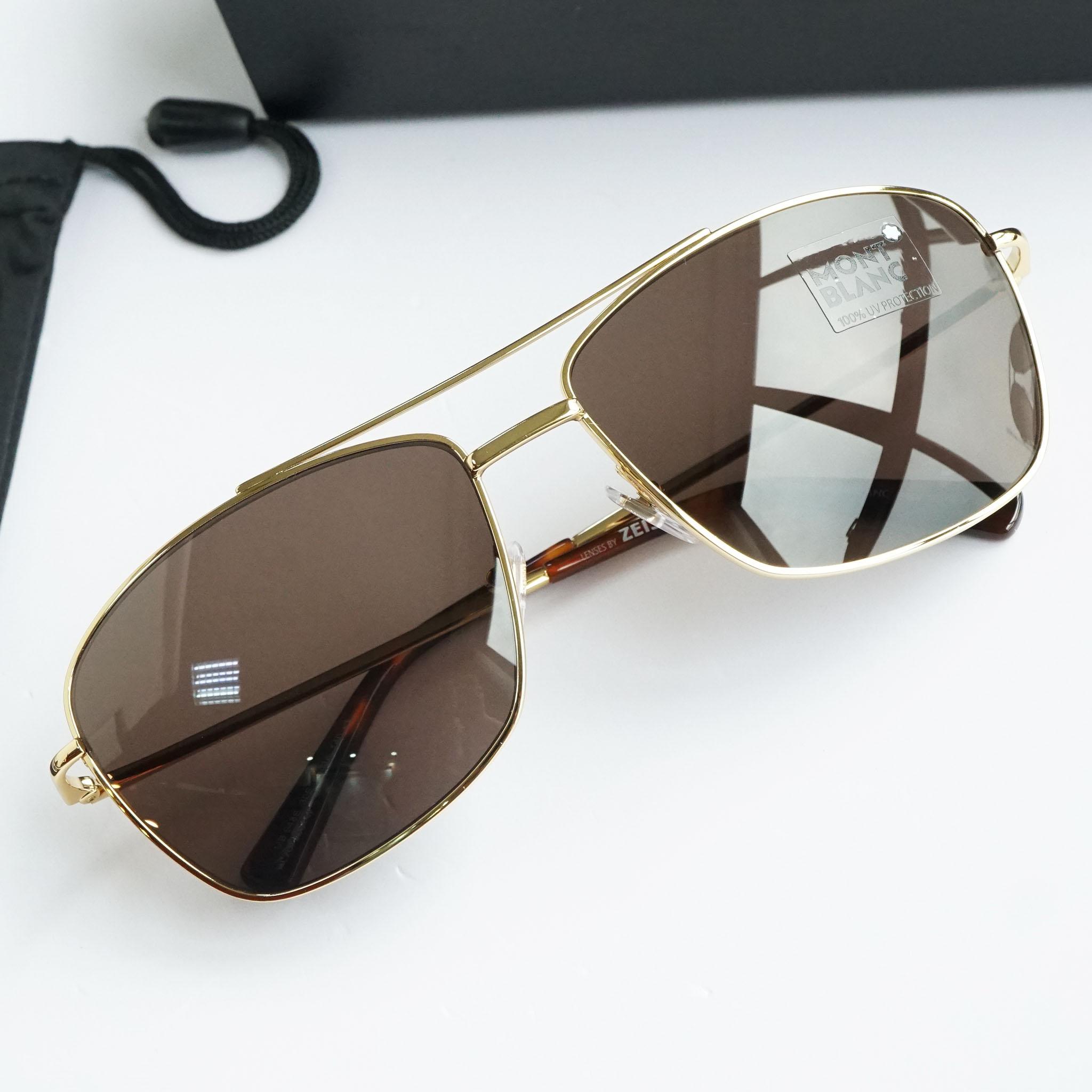 Kính râm Montblanc Rectangular Sunglasses MB548S 30E Gold/Havana 63mm chính hãng