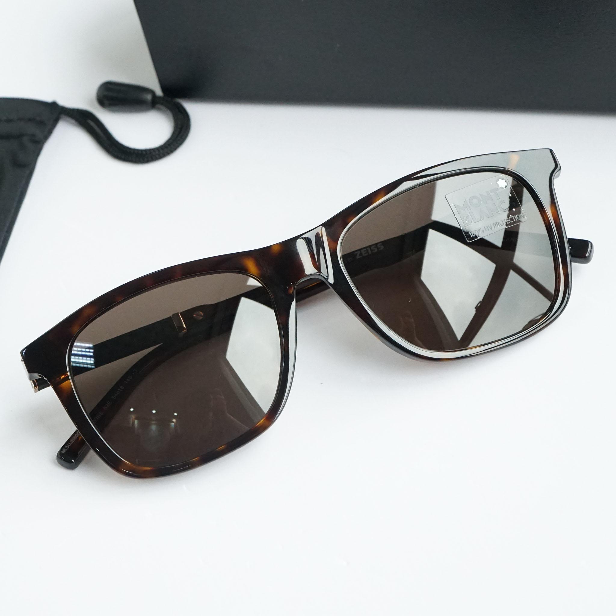 Kính mắt Montblanc Rectangular Sunglasses MB606S 52E Havana/Gold 54mm 606 chính hãng