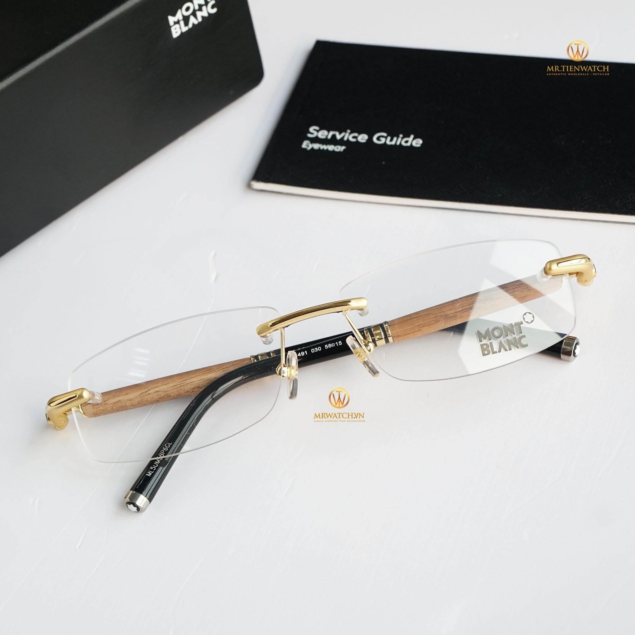 Gọng kính Montblanc Rimless Eyeglasses MB491 030 chính hãng