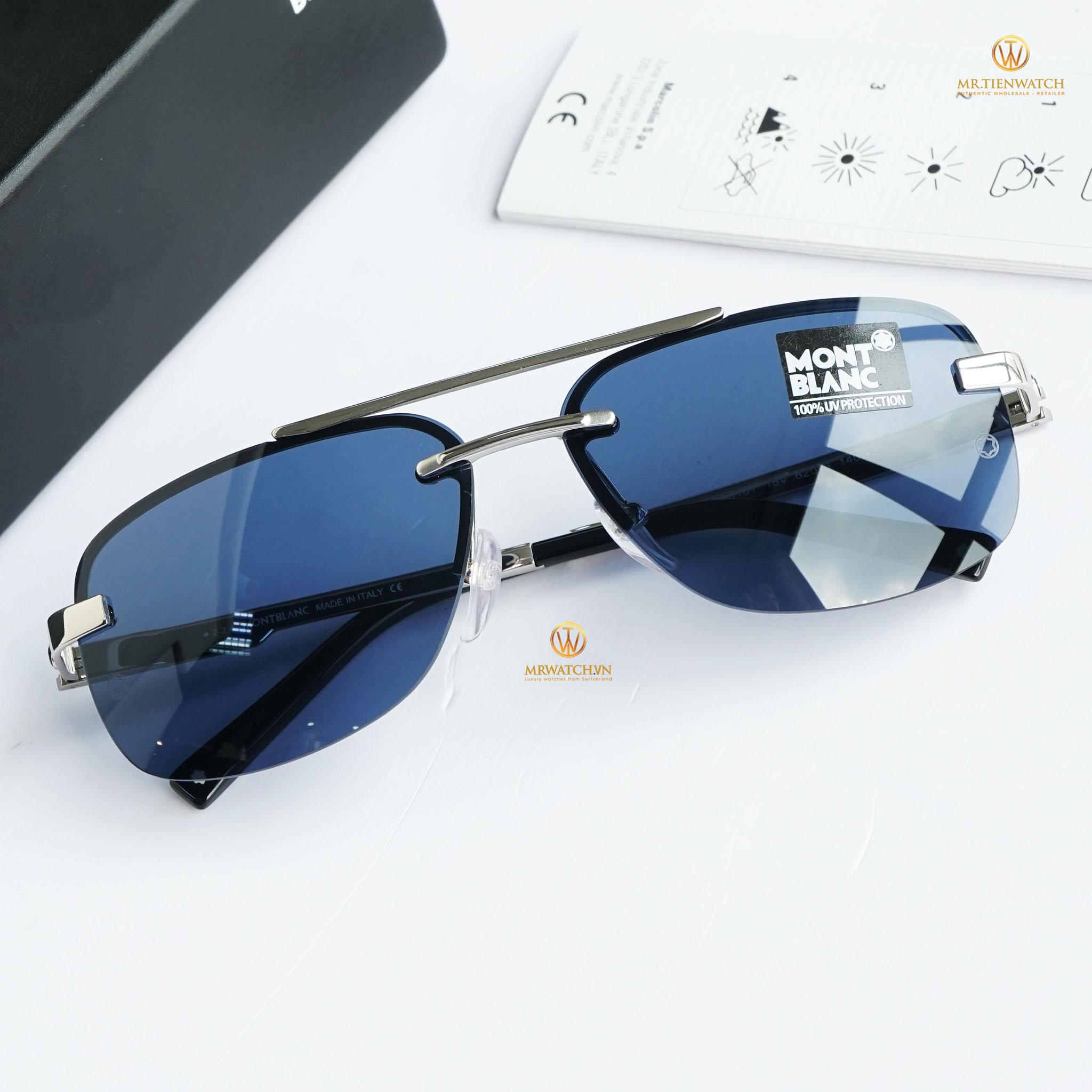 Kính râm Montblanc Rimless Sunglasses MB510T 16V Palladium/Black 510 chính hãng