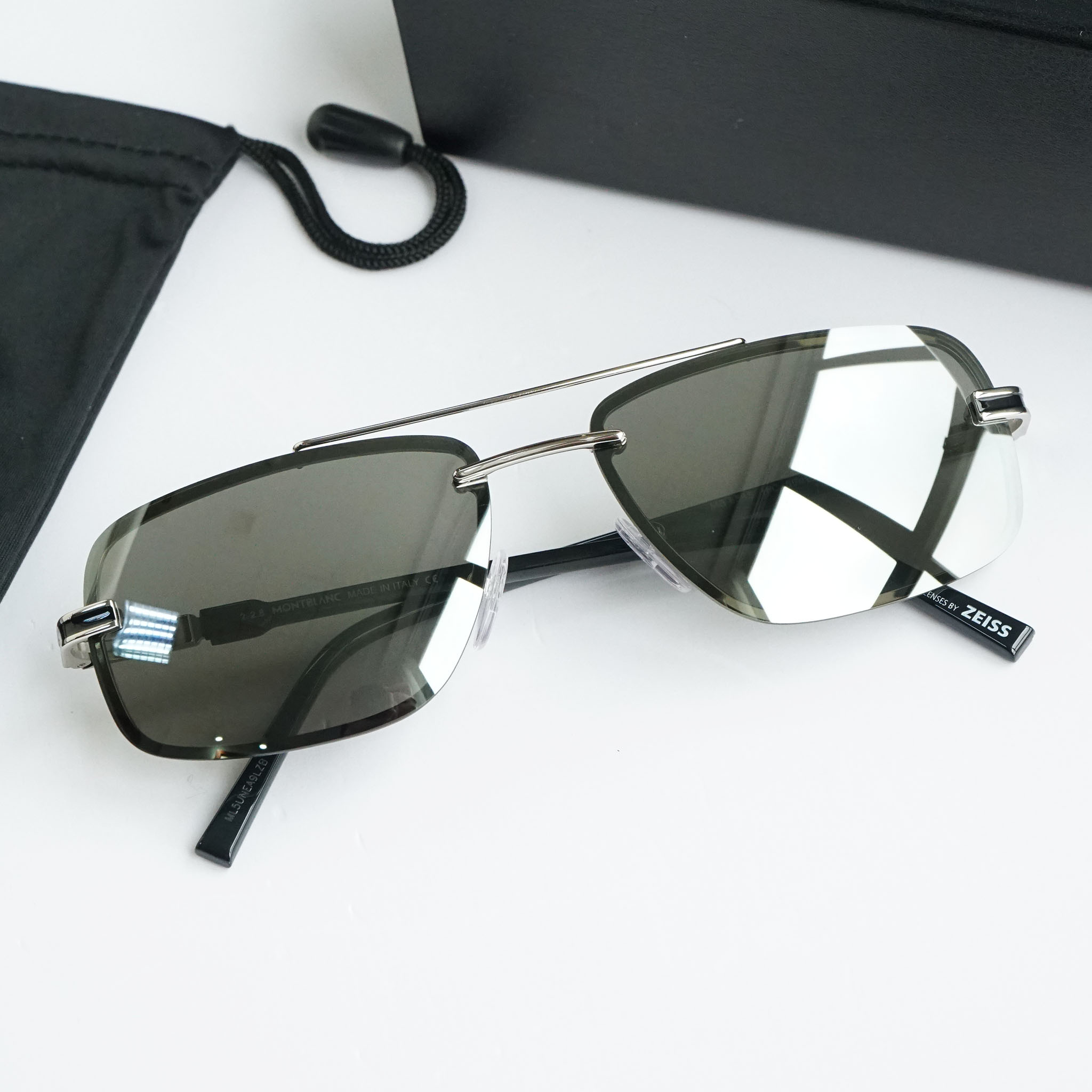 Kính râm Montblanc Rimless Sunglasses MB658S 16C Palladium/Black 59mm chính hãng
