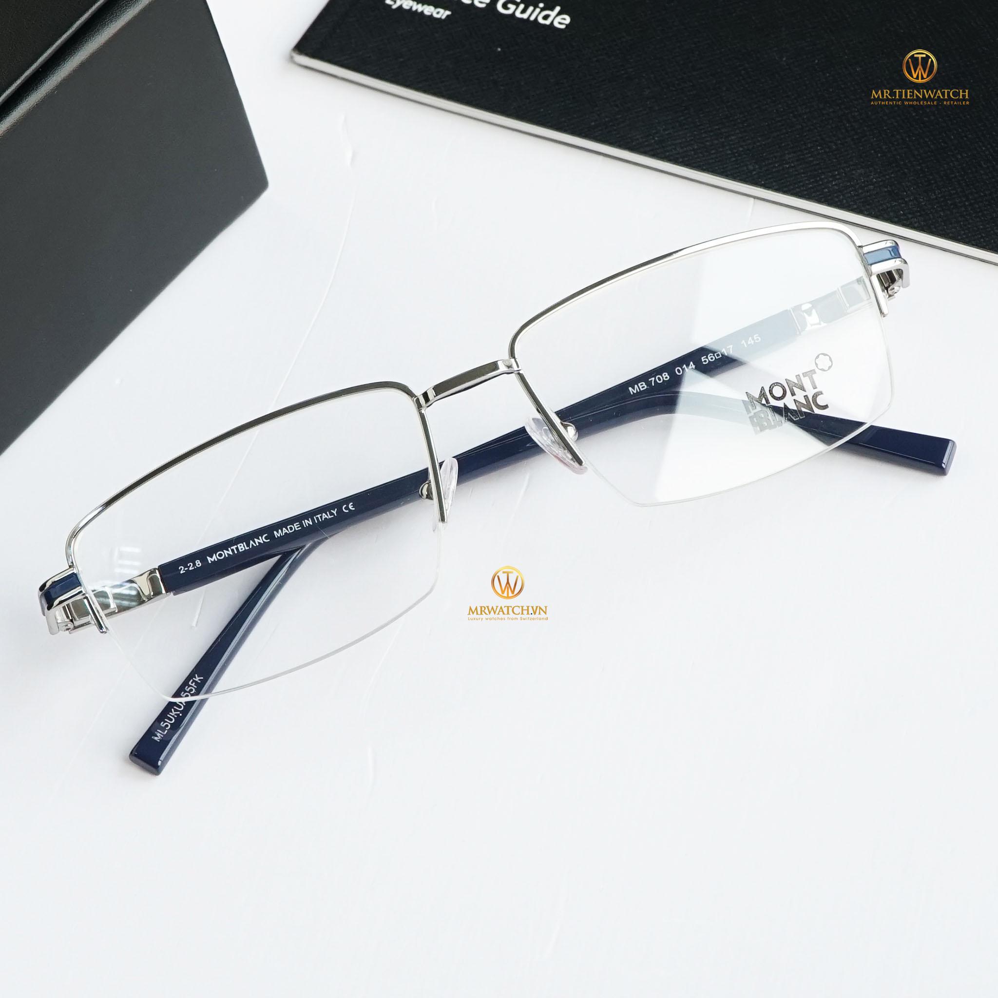 Gọng kính Montblanc Semi-Rimless Eyeglasses MB708 014 Palladium/Blue 56mm chính hãng