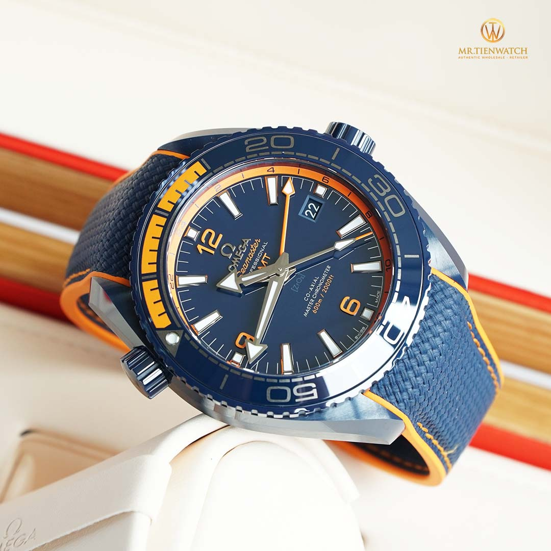 "OMEGA SEAMASTER PLANET OCEAN 600M CO‑AXIAL MASTER CHRONOMETER GMT 45.5 MM "" BIG BLUE "" 215.92.46.22.03.001"