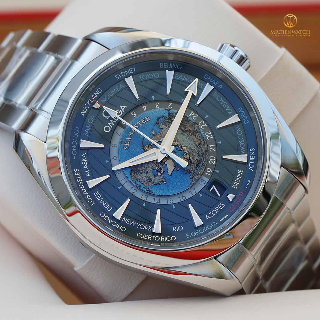 Omega SeaMaster Aqua Terra 150M Co‑Axial Master Chronometer GMT WorldTimer 43 MM 220.10.43.22.03.001 lịch thế giới, khó đặt mua