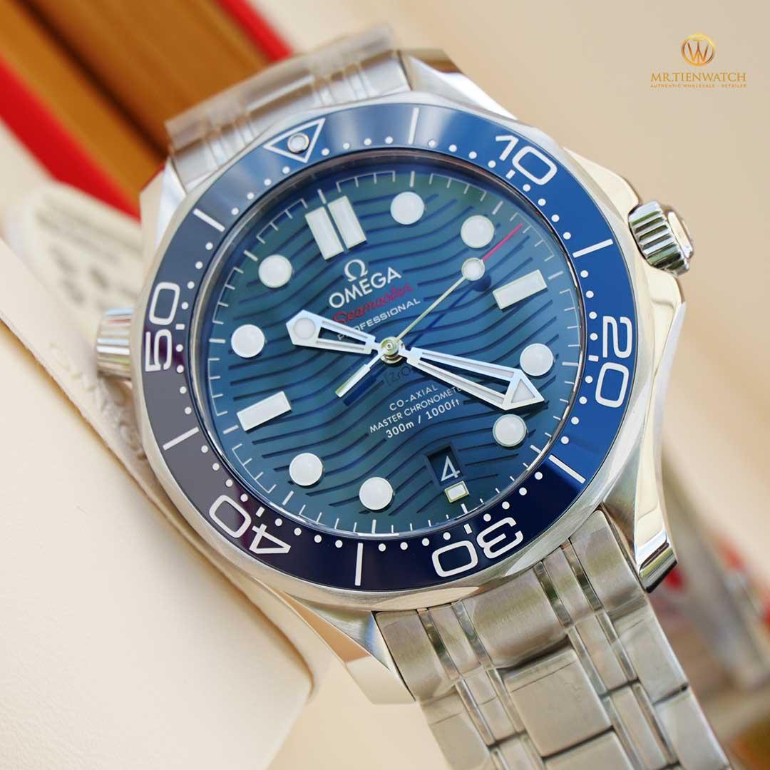 Omega SeaMaster Diver 300M Co‑Axial Master Chronometer 42 MM 210.30.42.20.03.001 mặt số gốm xanh, thép không gỉ cao cấp