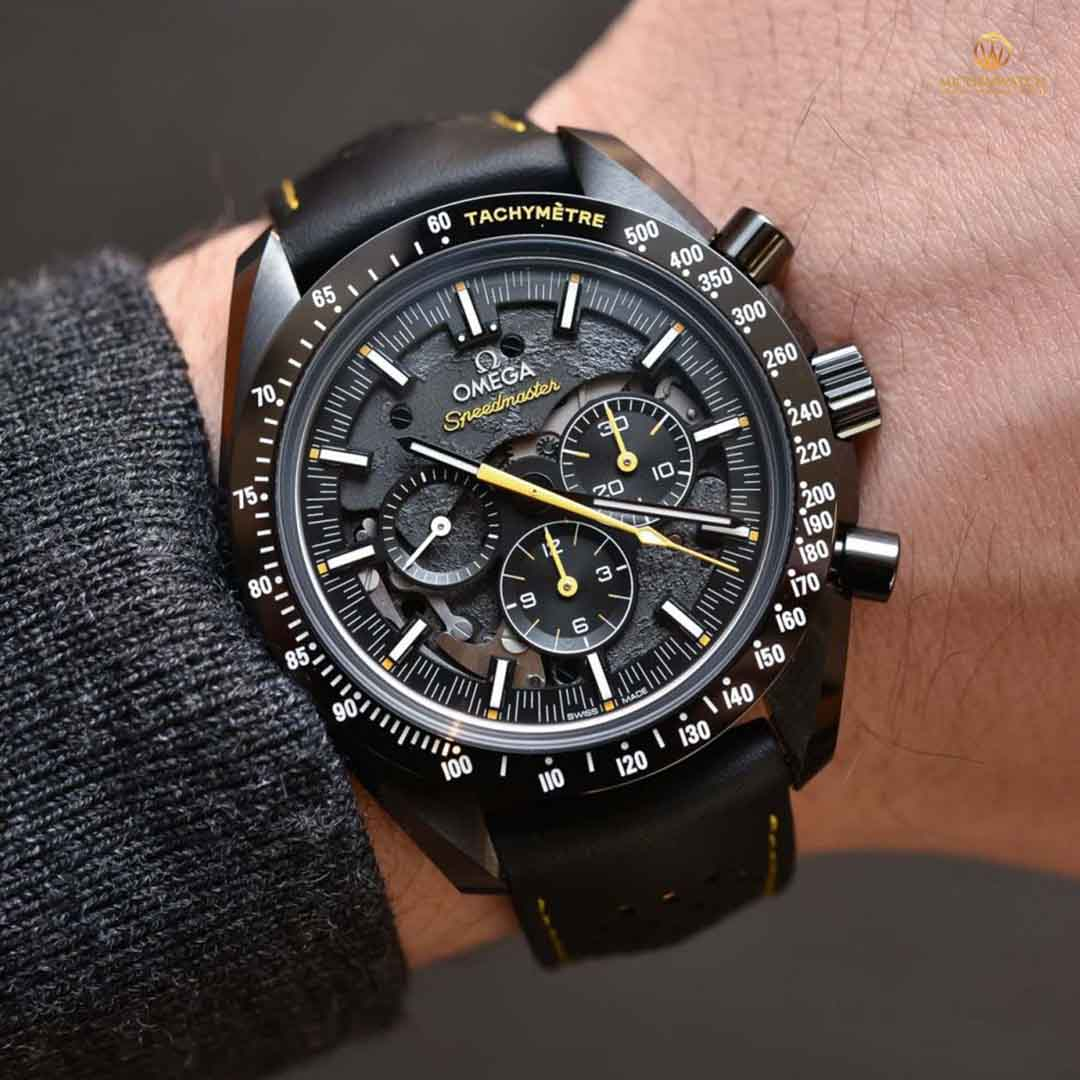 OMEGA SPEEDMASTER MOONWATCH CO‑AXIAL MASTER CHRONOMETER MOONPHASE CHRONOGRAPH 44.25 MM 311.92.44.30.01.001 Black ceramic on leather strap