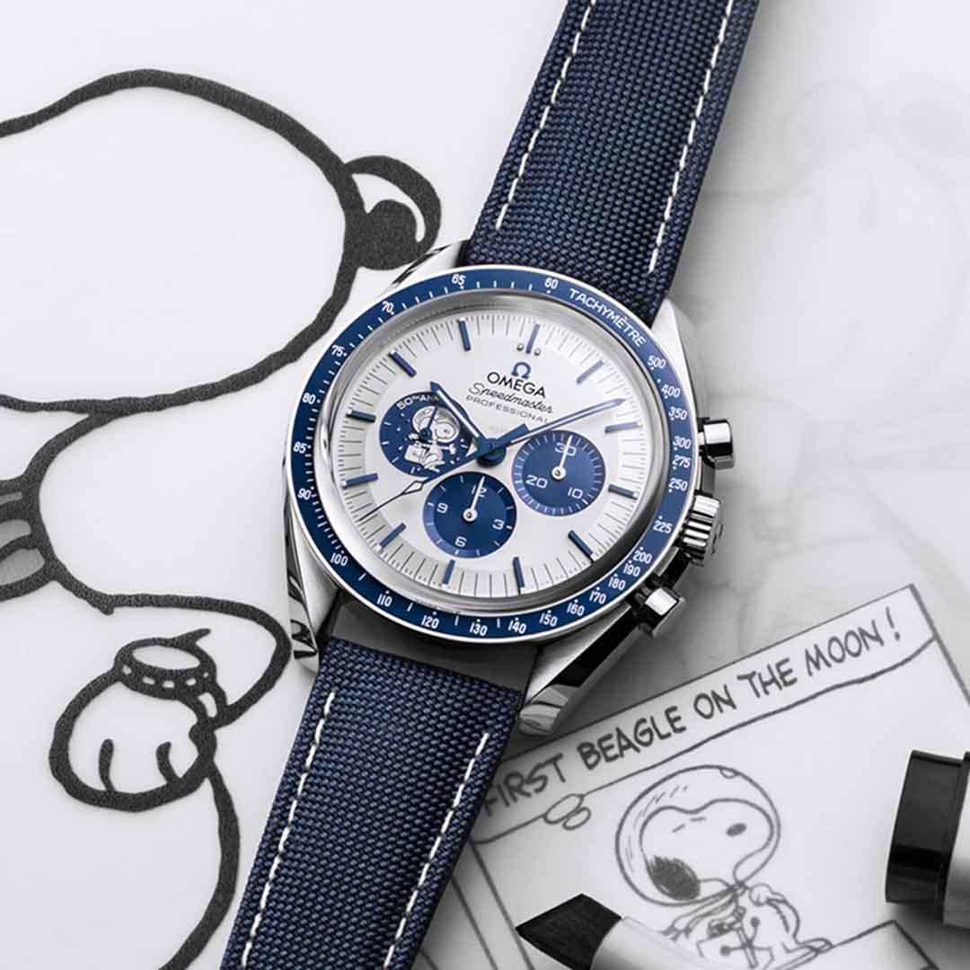"OMEGA SPEEDMASTER MOONWATCH ANNIVERSARY SERIES ""Silver Snoopy Award"" 310.32.42.50.02.001 Steel on coated nylon fabric strap"