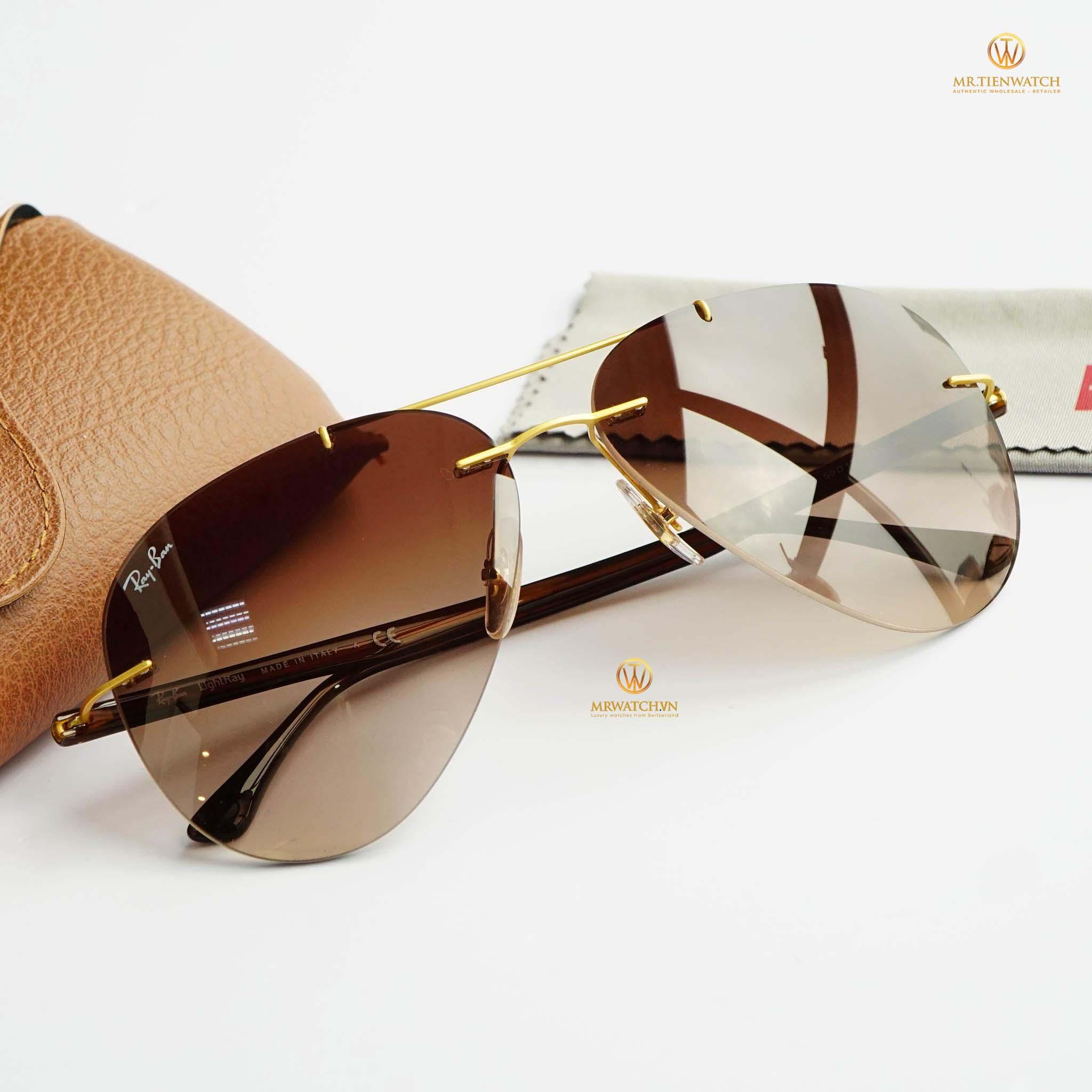kính mắt Ray-Ban 8058 Titanium Gold Brown Gradient 157/13 size 59 chính hãng