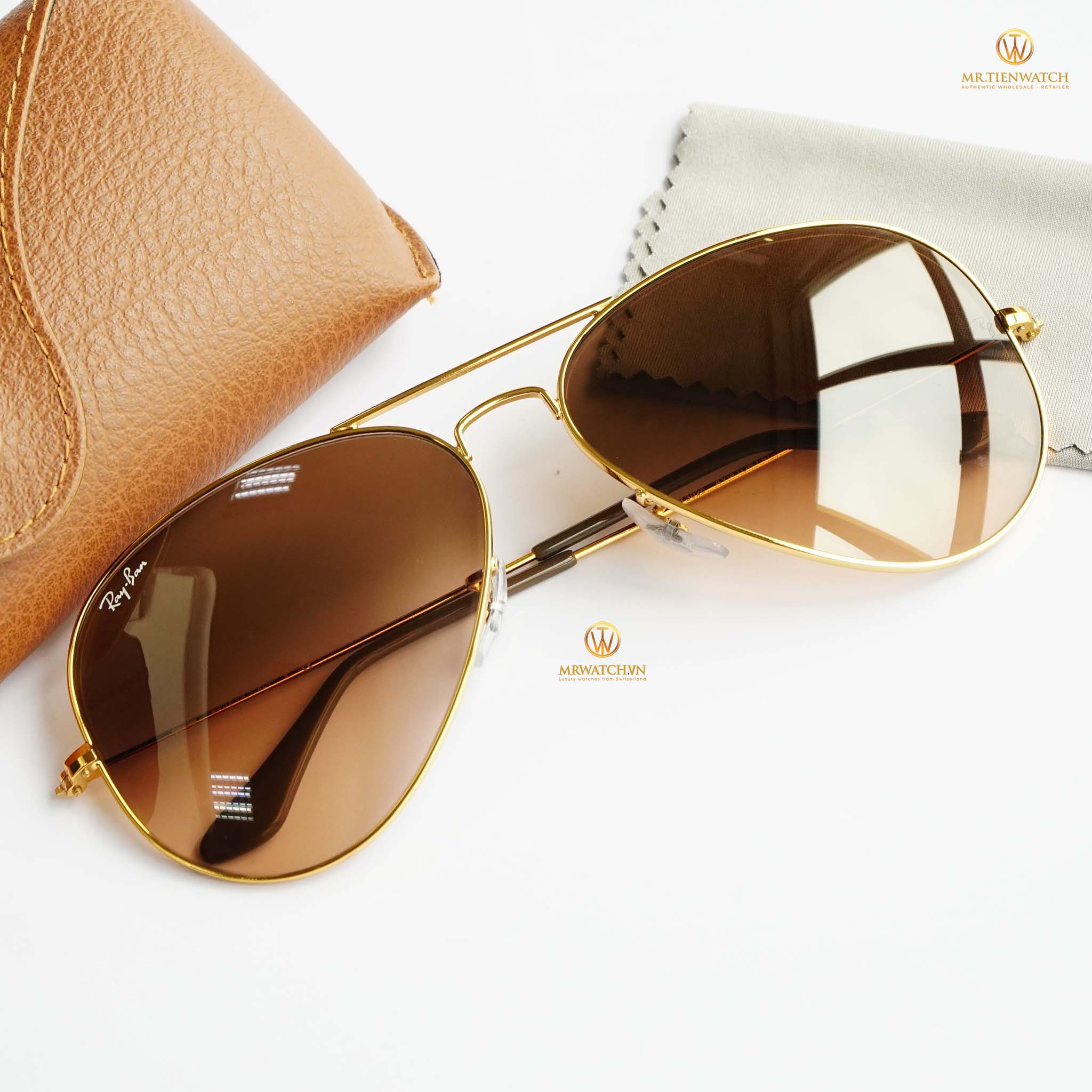 Kính mắt Ray Ban New 3025 Large metal Shiny rose gold light brown gradient RB 3025 9001A5 chính hãng