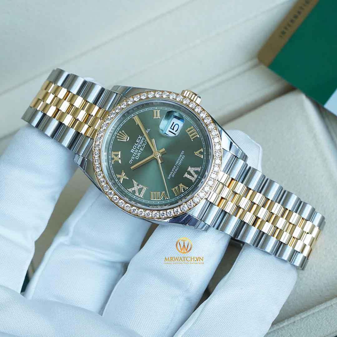 ROLEX DATEJUST 36 126283RBR Oyster, 36 mm, Oystersteel, vàng vàng và kim cương