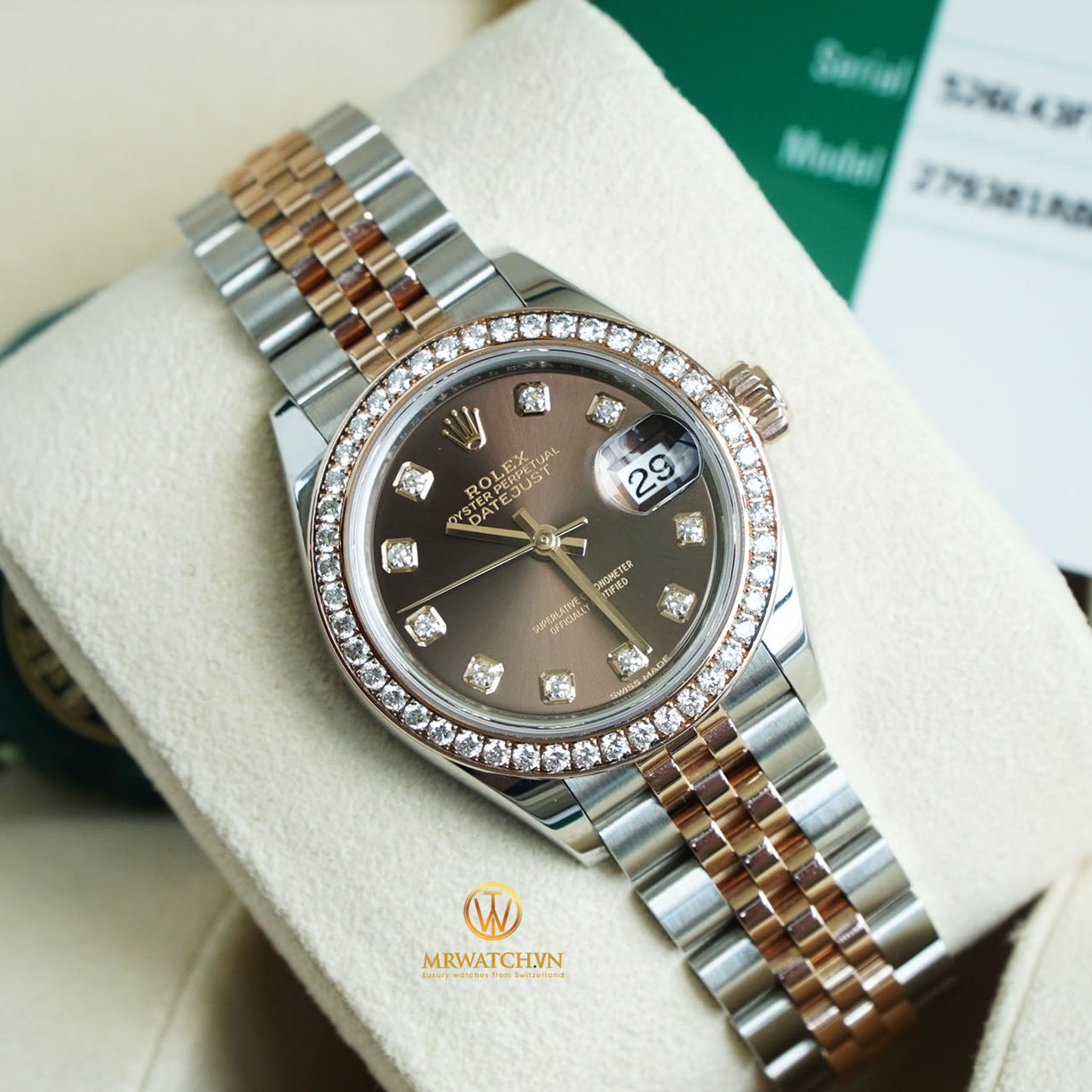 ROLEX LADY-DATEJUST 279381RBR Oyster, 28 mm, Oystersteel, vàng Eversose và kim cương