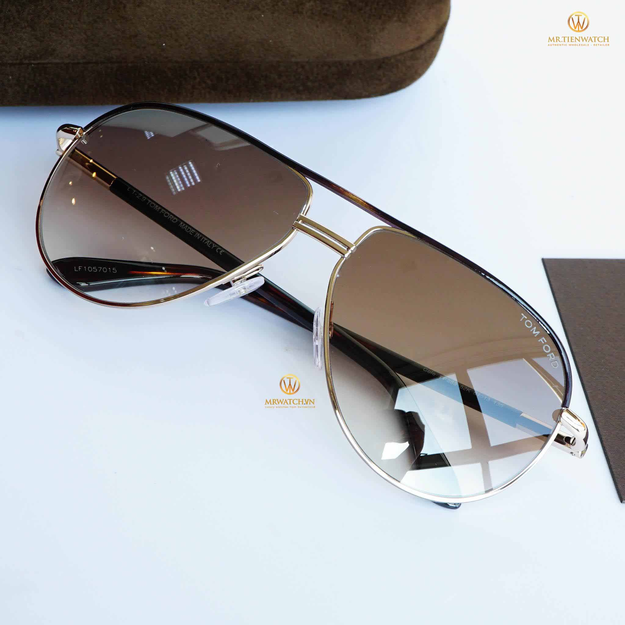 Tom Ford 2016 Aviator 0285 bkack gold brown gradient - TF FT 285 52K Kim loại Metal vàng đen