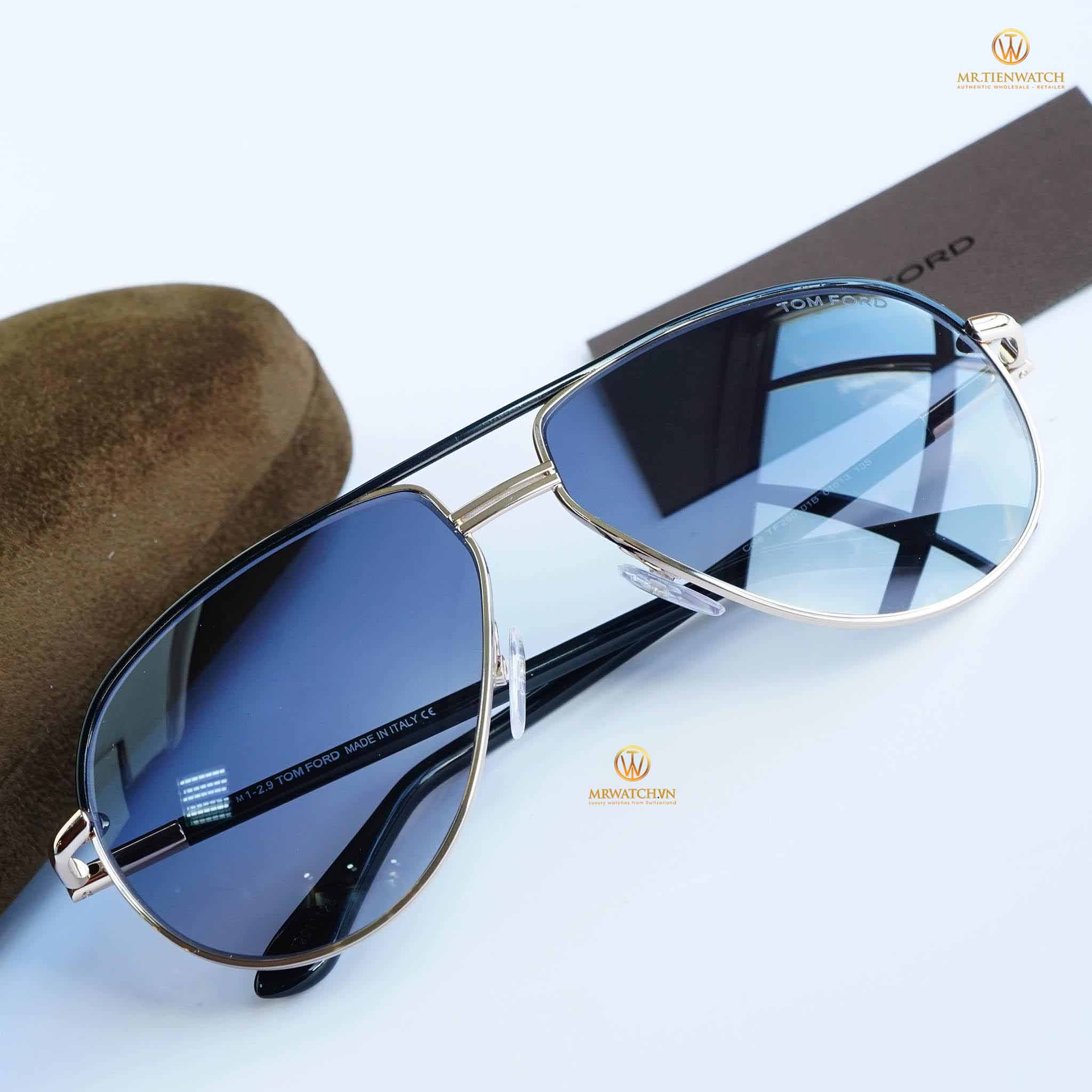 Tom Ford 2016 Aviator 0285 black gold light blue - TF FT 0285 01B Kim loại Metal Xanh nhạt light blue